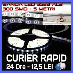 ROLA BANDA 300 LED - LEDURI SMD 3528 ALB (ALBA, ALBE) - 5 METRI, IMPERMEABILA (WATERPROOF), FLEXIBILA - Banda LED ZDM
