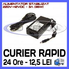 SURSA - ALIMENTATOR STABILIZAT 12V - 3A AMPERI - PENTRU BANDA LED RGB 150 SMD