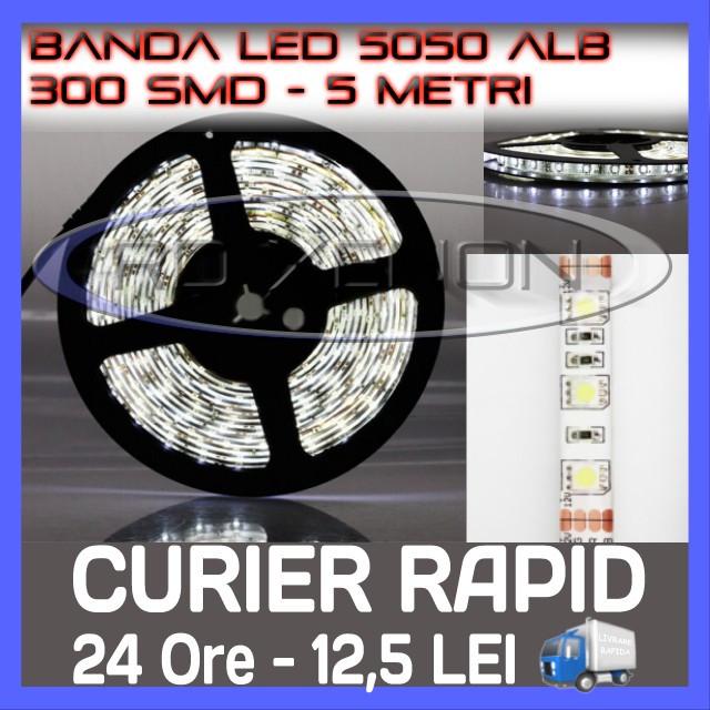 ROLA BANDA 300 LED - LEDURI SMD 5050 ALB (ALBA, ALBE) - 5 METRI, IMPERMEABILA (WATERPROOF), FLEXIBILA