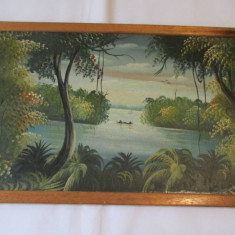 TABLOU-INDIGENI LA PESCUIT-inramat, ulei pe placaj - Tablou autor neidentificat, Natura, Realism