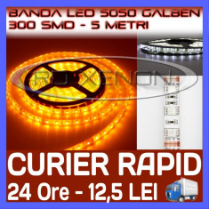 ROLA BANDA 300 LED - LEDURI SMD 5050 GALBEN (GALBEBA, GALBENE) - 5 METRI, IMPERMEABILA (WATERPROOF), FLEXIBILA, ZDM