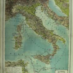 HARTA VECHE - ITALIA - DIN ATLAS GEOGRAFIC 1924 - GENERAL C-TIN TEODORESCU - INSTITUTUL CARTOGRAFIC UNIREA BRASOV - Harta Italiei