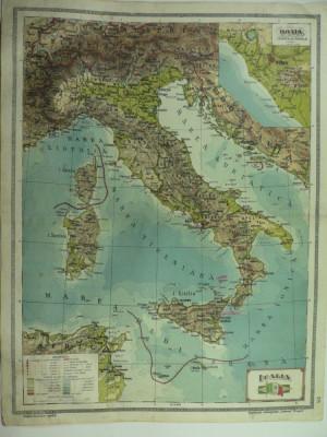 HARTA VECHE - ITALIA - DIN ATLAS GEOGRAFIC 1924 foto