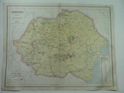HARTA VECHE - HARTA MINIERA A ROMANIEI MARI - DIN ATLAS GEOGRAFIC 1924 foto