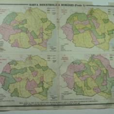 HARTA VECHE - HARTA INDUSTRIALA A ROMANIEI MARI - FOAIA I - DIN ATLAS GEOGRAFIC 1924 - GENERAL C-TIN TEODORESCU - INSTITUTUL CARTOGRAFIC UNIREA BRASOV - Harta Romaniei