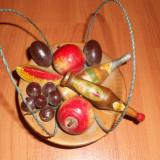 Cosulet Artizanal Fructiera si Sampanie ZAREA lemn, Suvenir vechi. Obiect vechi traditional romanesc, artizanal.Perioada comunista.Anii 90.