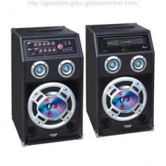 SISTEM BOXE AMPLIFICATE ACTIVE, MIXER INCLUS, MP3 PLAYER STICK USB+CARD, LUMINI+2 MICROFOANE BONUS! - Boxa activa