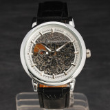 Ceas - WINNER - Mecanic / Automatic , Model FULL SKELETON , Curea Piele , Barbatesc , Cadran Argintiu, Casual, Mecanic-Automatic, Inox