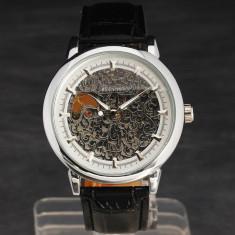 Ceas - WINNER - Mecanic / Automatic , Model FULL SKELETON , Curea Piele , Barbatesc , Cadran Argintiu
