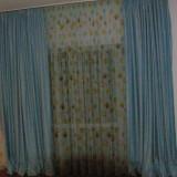 Set cuvertura pat si 2 draperii lucrate manual