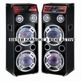 SISTEM KARAOKE 2 BOXE ACTIVE, 4 BASSI, MIXER INCLUS, MP3 PLAYER STICK/CARD, 500 WATT P.M.P.O+2 MIC.WIRELESS! - Echipament karaoke