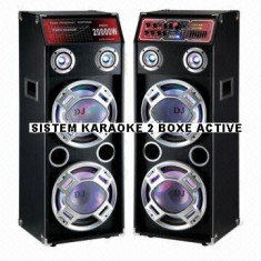 SISTEM KARAOKE 2 BOXE ACTIVE,4 BASSI,MIXER INCLUS,MP3 PLAYER STICK/CARD,500 WATT P.M.P.O+2 MIC.WIRELESS!