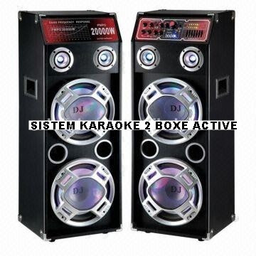 SISTEM KARAOKE 2 BOXE ACTIVE,4 BASSI,MIXER INCLUS,MP3 PLAYER STICK/CARD,500 WATT P.M.P.O+2 MIC.WIRELESS! foto