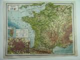 HARTA VECHE - FRANTA -ATLAS GEOGR.1924 - G-ral C-TIN TEODORESCU -  UNIREA BRASOV