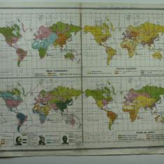 HARTA VECHE - A CONFESIUNILO R - DESIMEA POPULATIEI - RASELE OMENESTI - ZONELE DE CULTURI - DIN ATLAS GEOGRAFIC - GENERAL C-TIN TEODORESCU - ANUL 1924