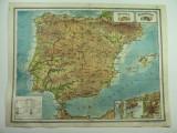 HARTA VECHE - SPANIA - PORTUGALIA - DIN ATLAS GEOGRAFIC 1924