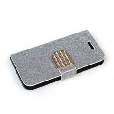 Husa iPhone 6 6S Diamond Silver - Husa Telefon Apple, Gri, Cu clapeta, Toc