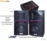 SUPER SISTEM 2 BOXE ACTIVE/AMPLIFICATE CU MIXER INCLUS,MP3 PLAYER, BASSI 12 toli,500WATT,EFECTE VOCE+2 MICROFOANE wireless!