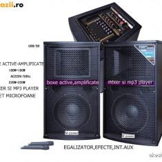 SUPER SISTEM 2 BOXE ACTIVE/AMPLIFICATE CU MIXER INCLUS, MP3 PLAYER, BASSI 12 toli, 500WATT, EFECTE VOCE+2 MICROFOANE wireless! - Boxa activa