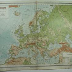 HARTA VECHE - EUROPA HARTA FIZICA - ATLAS GEOGRAFIC 1924 - GENERAL C-TIN TEODORESCU - INSTITUTUL CARTOGRAFIC BRASOV