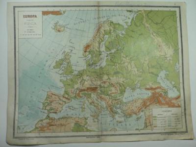 HARTA VECHE - EUROPA HARTA FIZICA - ATLAS GEOGRAFIC 1924 foto