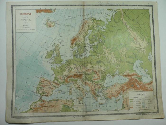 HARTA VECHE - EUROPA HARTA FIZICA - ATLAS GEOGRAFIC 1924