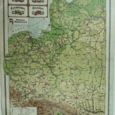 HARTA VECHE - POLONIA - LETONIA - LITUANIA - DANZIG - PRUSIA ORIENTALA - DIN ATLAS GEOGRAFIC 1924 - GEN. C-TIN TEODORESCU - INST. CARTOGRAFIC BRASOV