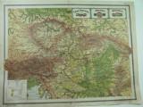 HARTA VECHE - CEHO - SLOVACIA - AUSTRIA - UNGARIA - DIN ATLAS GEOGRAFIC 1924