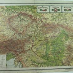 HARTA VECHE - CEHO - SLOVACIA - AUSTRIA - UNGARIA - DIN ATLAS GEOGRAFIC 1924 - GENERAL C-TIN TEODORESCU - INSTITUTUL CARTOGRAFIC UNIREA BRASOV