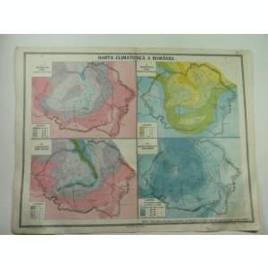 HARTA VECHE - HARTA CLIMATERICA A ROMANIEI MARI - DIN ATLAS GEOGRAFIC ANUL 1924