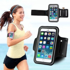 Armband iPhone 6 Plus 6S Plus Black - Husa Telefon Apple, Universala, Negru, Textil, Fara snur, Husa