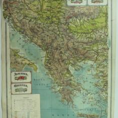 HARTA VECHE - YUGO-SLAVIA - BULGARIA - ALBANIA - GRECIA - DIN ATLAS GEOGRAFIC 1924 - GENERAL C-TIN TEODORESCU - INSTITUTUL CARTOGRAFIC UNIREA BRASOV