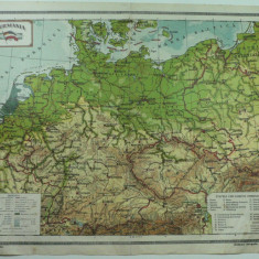 HARTA VECHE - GERMANIA - DIN ATLAS GEOGRAFIC 1924 - GENERAL C-TIN TEODORESCU - INSTITUTUL CARTOGRAFIC UNIREA BRASOV - Harta Germaniei