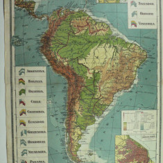 HARTA VECHE - AMERICA DE SUD - ATLAS GEOGRAFIC 1924 - INST. CART. UNIREA BRASOV
