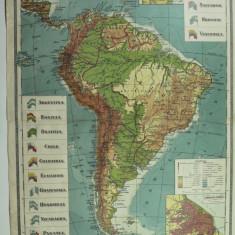 HARTA VECHE - AMERICA DE SUD - ATLAS GEOGRAFIC 1924 - GENERAL C-TIN TEODORESCU - INSTITUTUL CARTOGRAFIC UNIREA BRASOV