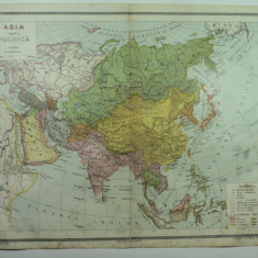 HARTA VECHE - ASIA HARTA POLITICA - DIN ATLAS GEOGRAFIC 1924 - GENERAL C-TIN TEODORESCU - INSTITUTUL CARTOGRAFIC UNIREA BRASOV