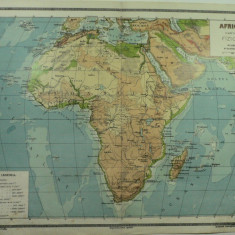HARTA VECHE - AFRICA HARTA FIZICA - ATLAS GEOGRAFIC 1924 - GENERAL C-TIN TEODORESCU - INSTITUTUL CARTOGRAFIC UNIREA BRASOV
