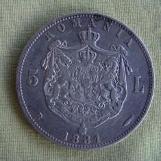 5 lei 1881 Carol Domn 4 - Moneda Romania