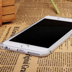 bumper argintiu din aluminiu pentru iphone 6 +  plus si folie protectie ecran si cablu date
