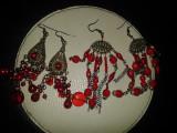 Cercei lungi rosii-candelabru
