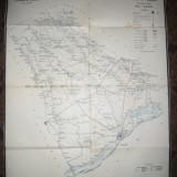 Harta -litografica - Cai de Comunicatii -Judet Vlasca 1912 , dim.=56 x 71 cm