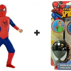 PROMOTIE! COSTUM SPIDERMAN COMPLET+2 STATII WALKIE TALKIE SPIDERMAN! PARTY,CARNAVAL...