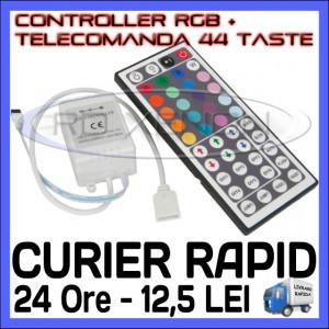CONTROLER RGB IR + TELECOMANDA 44 TASTE - PENTRU BANDA LED RGB 3528, 5050