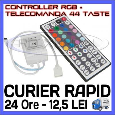 CONTROLER RGB IR + TELECOMANDA 44 TASTE - PENTRU BANDA LED RGB 3528, 5050 foto