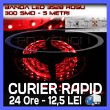 ROLA BANDA 300 LED - LEDURI SMD 3528 ROSU (ROSIE, ROSI) - 5 METRI, IMPERMEABILA (WATERPROOF), FLEXIBILA