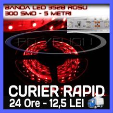 ROLA BANDA 300 LED - LEDURI SMD 3528 ROSU (ROSIE, ROSI) - 5 METRI, IMPERMEABILA (WATERPROOF), FLEXIBILA - Banda LED ZDM