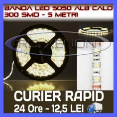 ROLA BANDA 300 LED - LEDURI SMD 5050 ALB CALD (ALBA, ALBE) - 5 METRI, IMPERMEABILA (WATERPROOF), FLEXIBILA