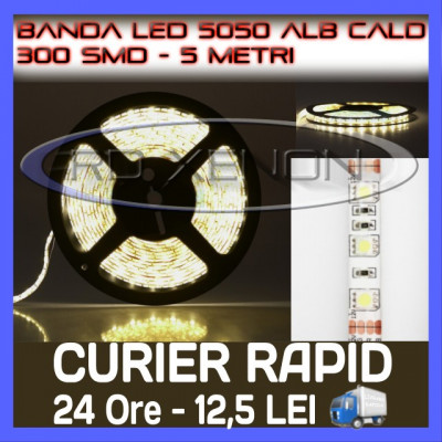 ROLA BANDA 300 LED - LEDURI SMD 5050 ALB CALD (ALBA, ALBE) - 5 METRI, IMPERMEABILA (WATERPROOF), FLEXIBILA foto