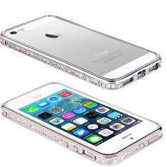 Bumper argintiu pentru iphone 4 S / G + folie protectie ecran cadou