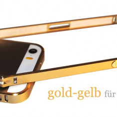Bumper auriu din aluminiu pentru iphone 5 + folie ecran cadou